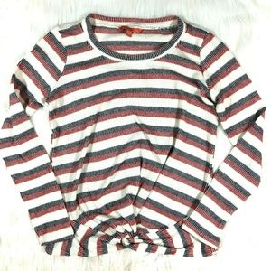Modcloth Striped Knot Front Long Sleeve Knit Top